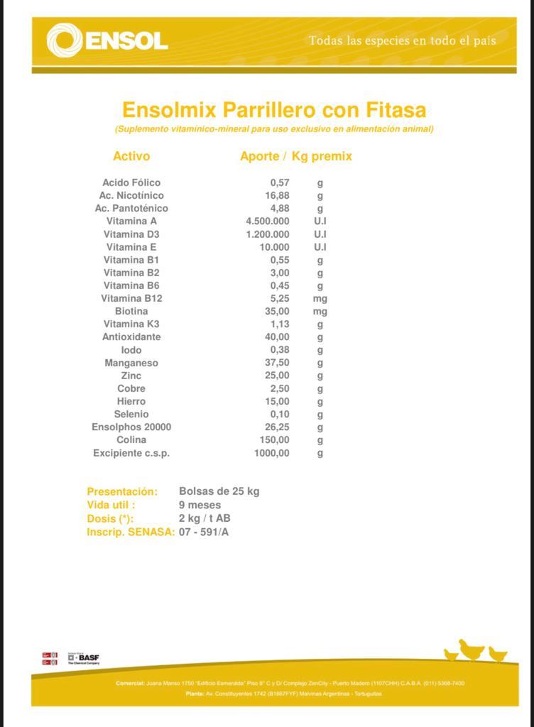 Nucleo Ponedora Con Fitasa Por 25 Kg.