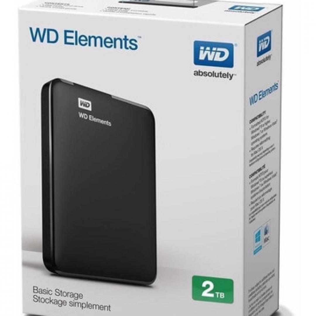 HD 2TB PORTABLE WD ELEMENTS BLACK USB 3.0 2.5