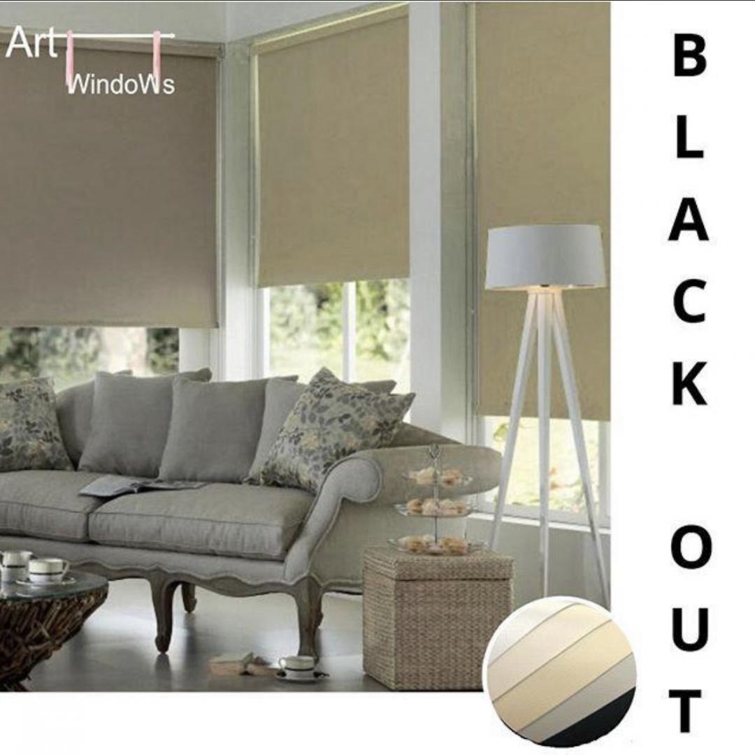 Cortina Roller Black Out Art windows Blanco 160 ancho  x 160 alto cm.