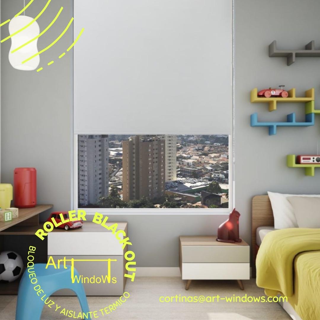 Cortina Roller Black Out Art windows Blanco 160 ancho  x 130 alto cm.