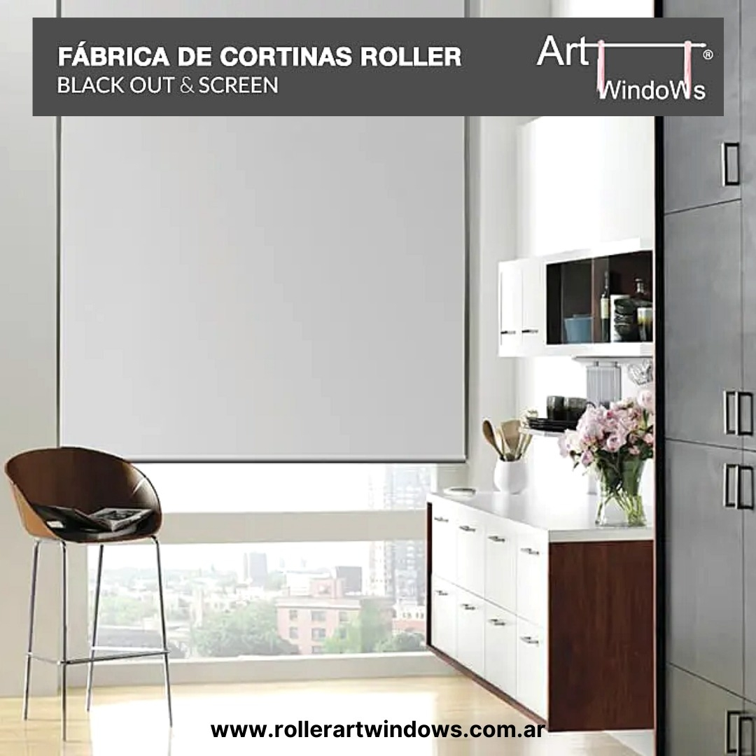 Cortina Roller Black Out Art windows Blanco 120 ancho x 150 altocm.